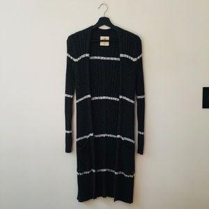 Hollister | Dark Gray Striped Open Cardigan